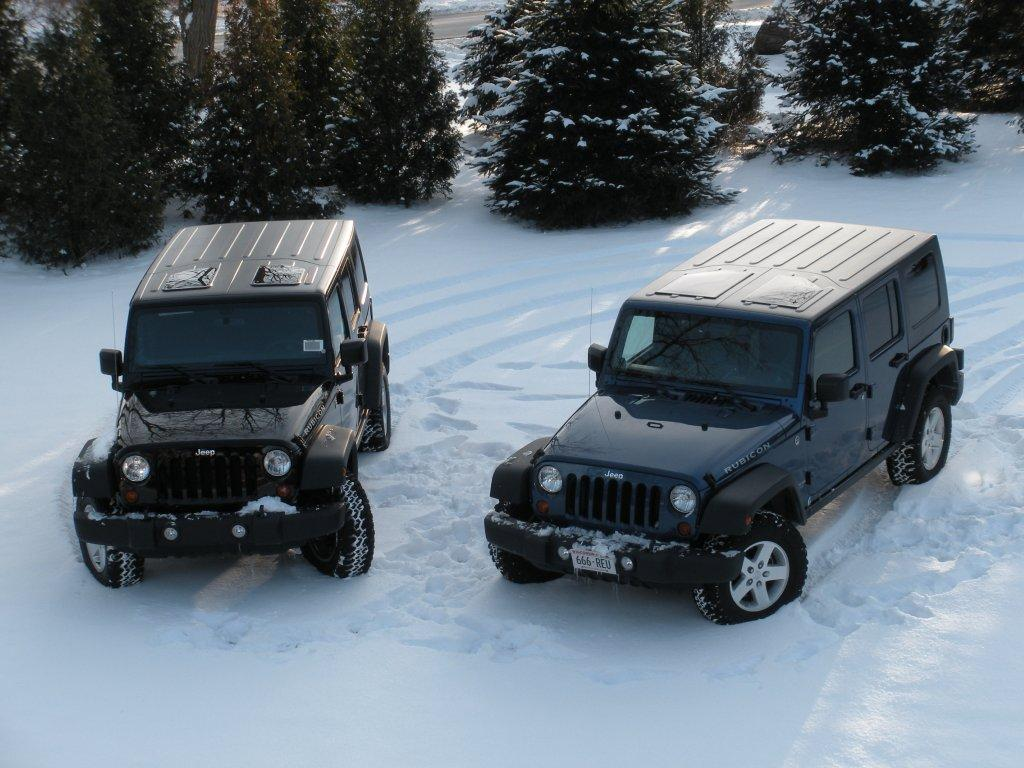 Jeep Wranglers in snow